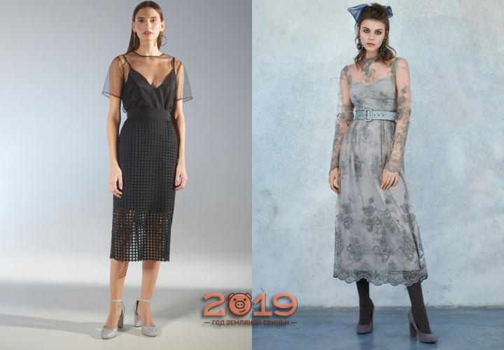 Платье из шифона зима 2018-2019