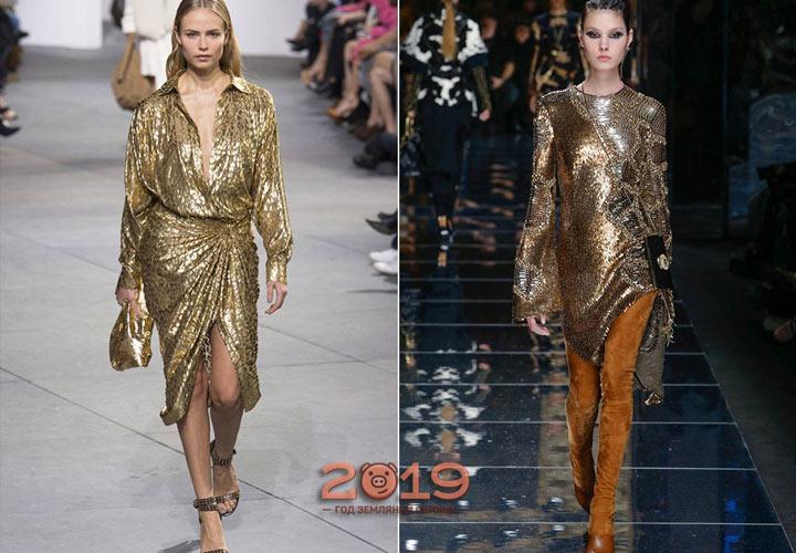 Золотое платье зима 2018-2019 года