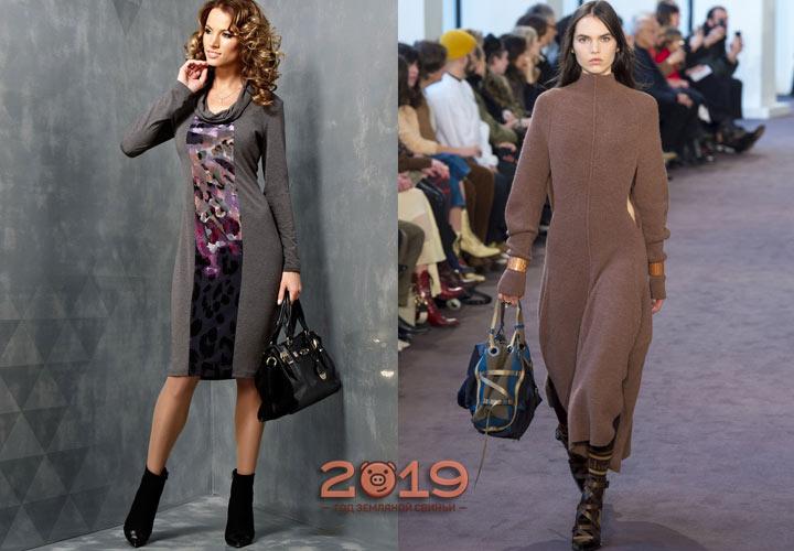 Уютное теплое платье зима 2018-2019