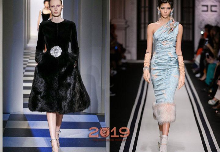 Платье с мехом зима 2018-2019