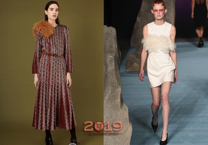 Мех как декор для платья осень-зима 2018-2019