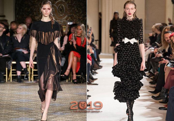 Платье с оборками зима 2018-2019