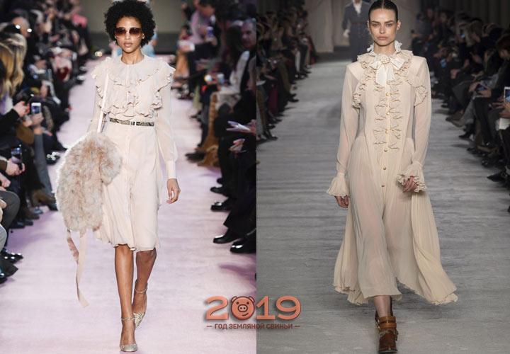 Платье с рюшами зима 2018-2019