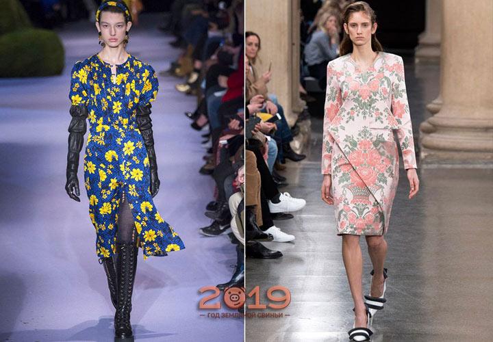 Модный цветочный принт для платья зима 2018-2019