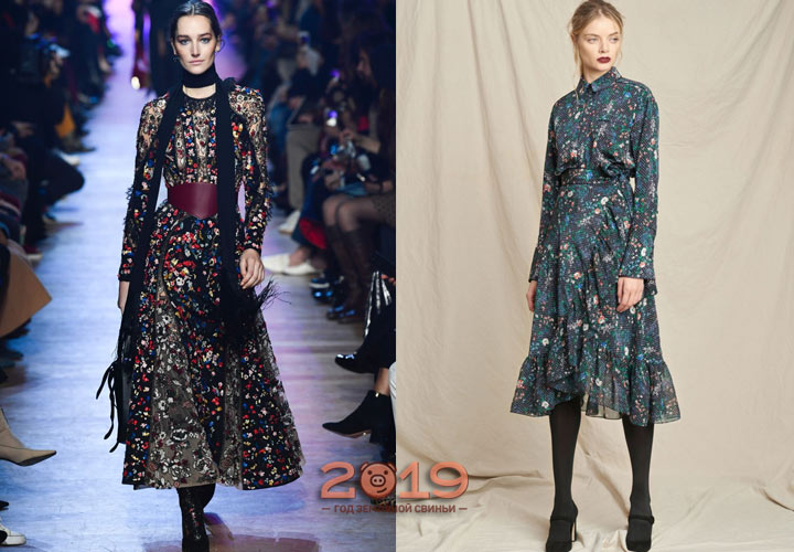 Цветочный принт платье осень-зима 2018-2019