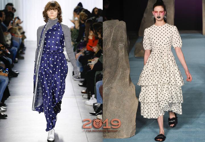 Принт горох модное платье 2018-2019 года