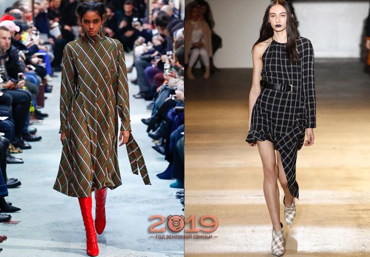 Платье в клетку зима 2018-2019