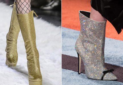 Модные блестящие сапоги 2018-2019 год