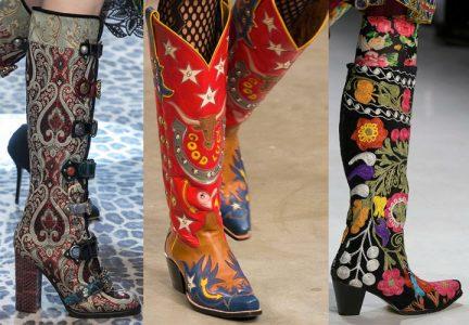 Модные сапоги с ярким рисунком