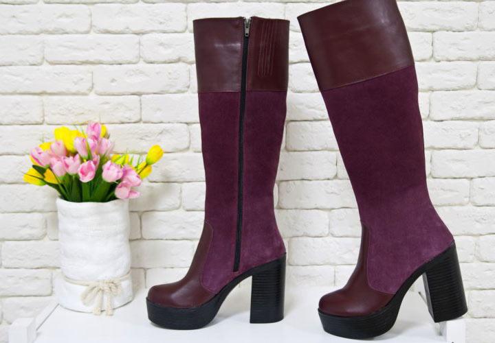 Фиолетовые замшевые сапоги