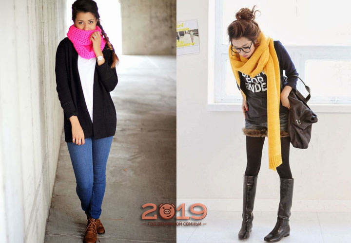Яркие шарфы - тренд 2018-2019 года