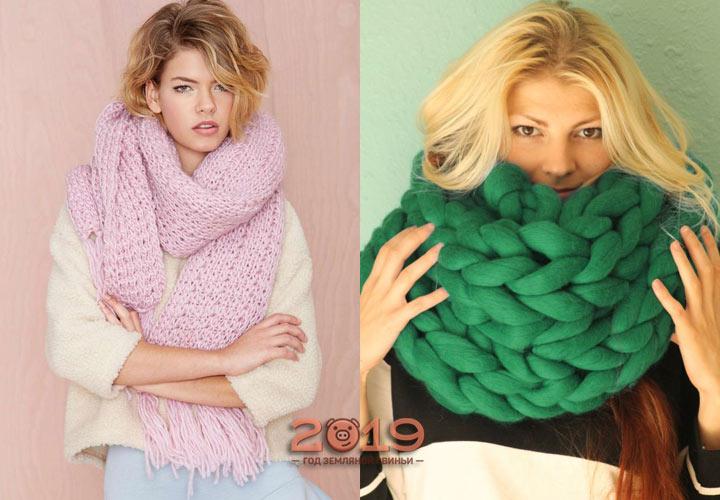 Шарфы крупной вязки мода 2019 года