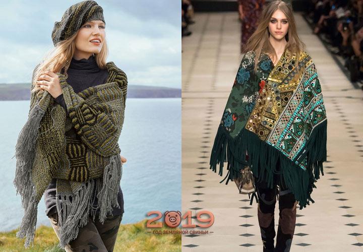 Широкие шарфы с модной бахромой