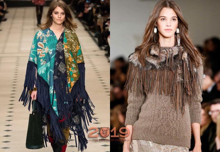 Бахрома в отделке шарфов мода 2018-2019 года