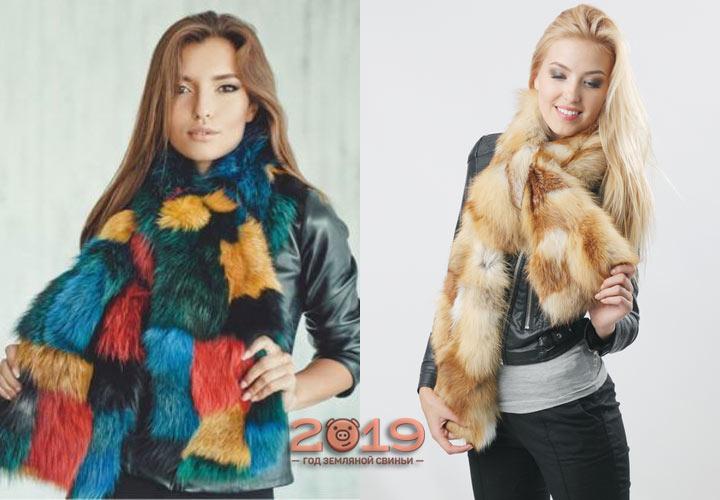 Красивый шарф из натурального меха