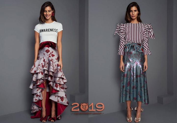 Юбка с цветочным принтом осень-зима 2018-2019