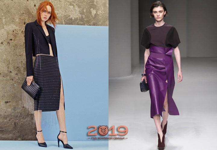 Юбка с разрезом мода 2018-2019 года