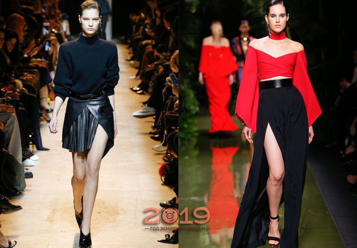 Черная юбка с разрезом