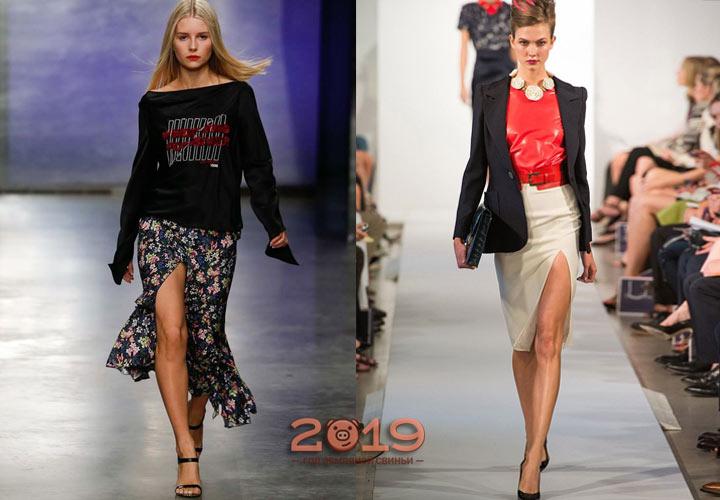 Модная юбка с разрезом 2018-2019 год