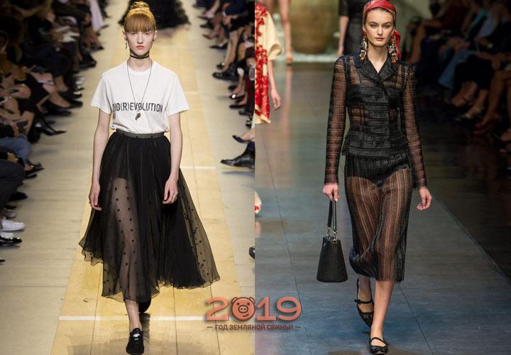 Черная прозрачная юбка