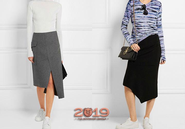 Офисная асимметричная юбка