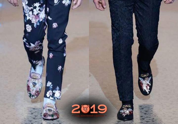 Вышитые мужские туфли зима 2018-2019