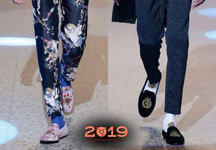 Мужские туфли с вышивкой зима 2018-2019