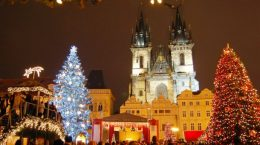 украшение улиц на новый год в Чехии