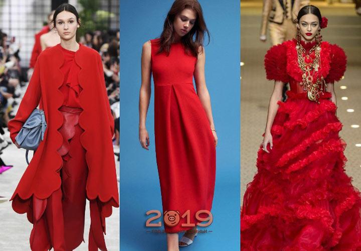 Модный красный зимы 2018-2019 года