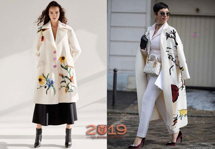 Пальто с вышивкой осень-зима 2018-2019