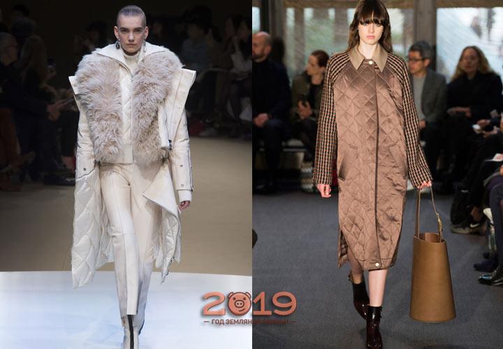 Стеганые пальто зима 2018-2019