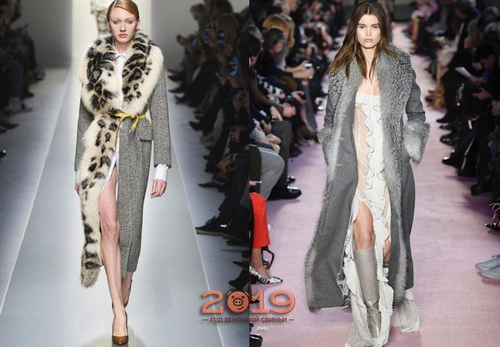 Серое пальто с меховым воротником зима 2018-2019