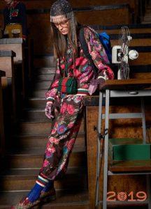 Спортивный костюм с цветочным принтом Гуччи зима 2018-2019