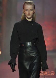 Uzun kollu kış 2018-2019 ile moda siyah bluz