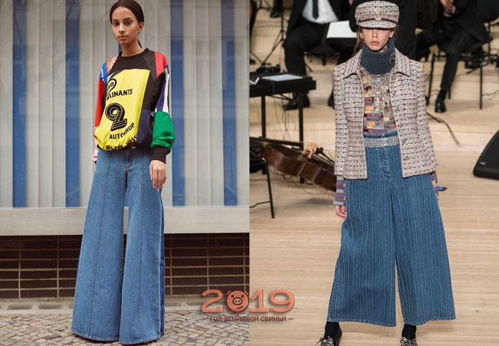 Удобные широкие джинсы зима 2019