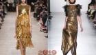 Золотое новогоднее платье на 2019 год