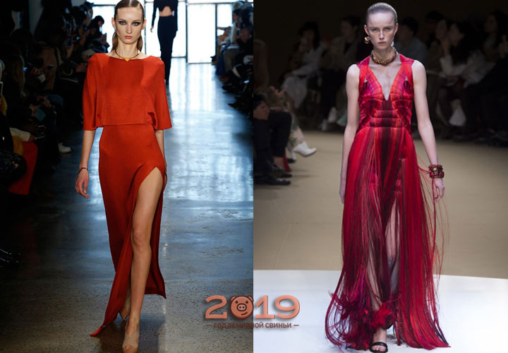 Красивое красное платье зима 2018-2019
