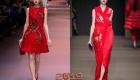 Красное новогоднее платье с вышивкой мода 2019 года