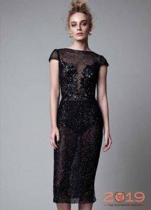 Блестящее черное платье на Новый Год 2019
