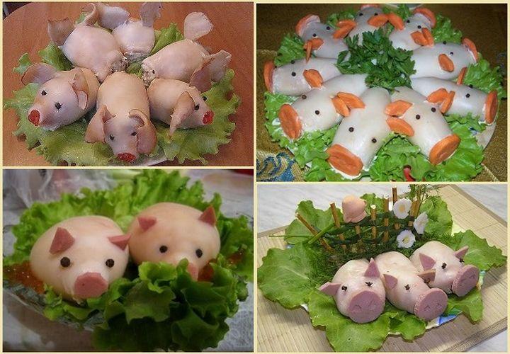 Украшение новогоднего салата в год Свиньи