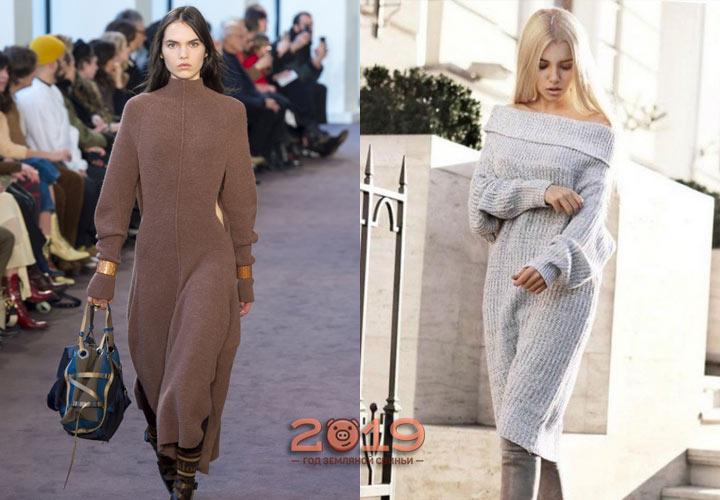 Платье вязаное зима 2018-2019