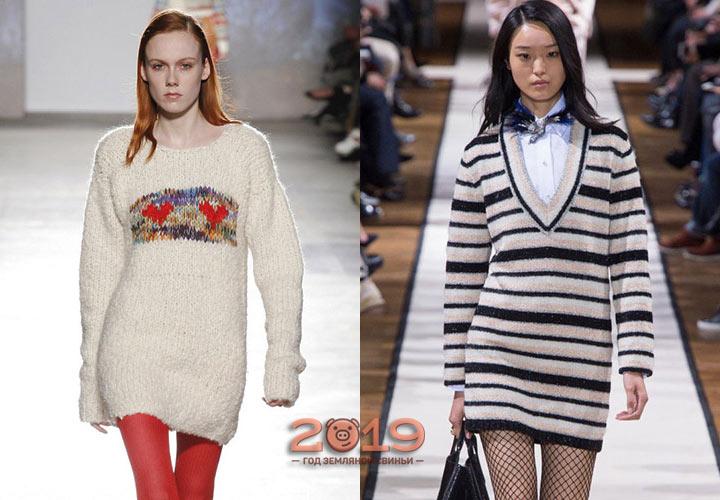 Короткое вязаное платье зима 2018-2019