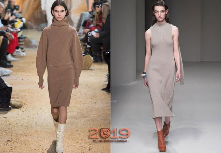 Длинное вязаное платье зима 2018-2019