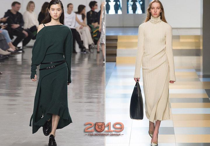 Необычное вязаное платье зима 2018-2019