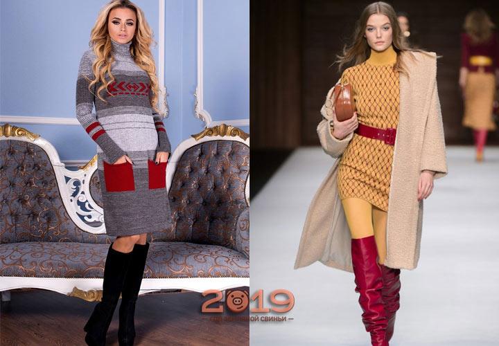 Трендовое вязаное платье зима 2018-2019