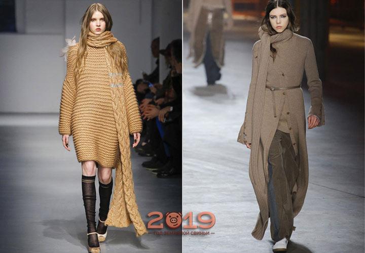 Узкий длинный шарф зима 2019