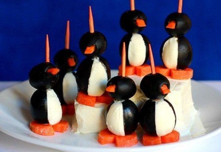 Канапе Пингвинчики на Новый год
