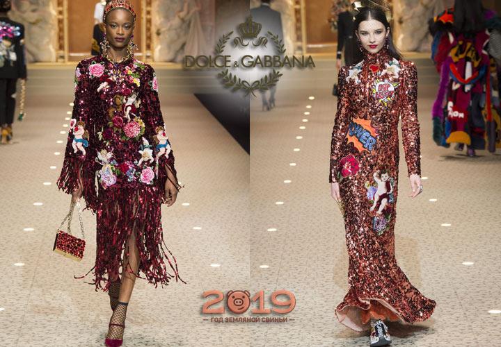 Блестящие платья Dolce & Gabbana зима 2018-2019