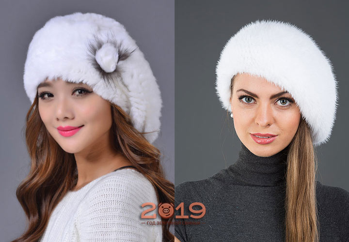 Белые меховые береты мода 2019 года