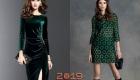 Красивое зеленое платье на Новый 2019 год